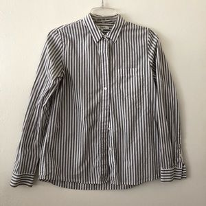 grey & white striped button up shirt- madewell